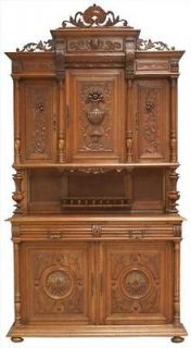 GREAT ANTIQUE FRENCH HIGHLY CARVED OAK RENAISSANCE HENRY II BUFFET