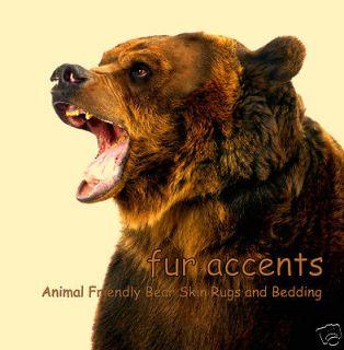 Realistic Faux Fur Bear Skin Accent Rug Plush Brown Pelt Shaggy