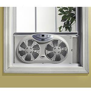 BIONAIRE TWIN 3 SPEED WINDOW FAN WITH DIGITAL THERMOSTAT REMOTE