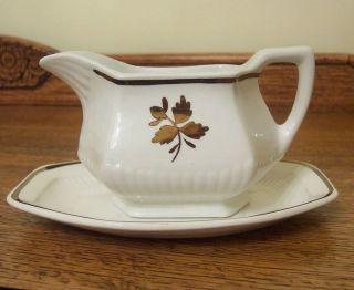 Adams Tea Leaf Gravy Boat & Underplate in Copper English Ironstone