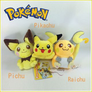 Pokemon Plush Pichu Pikachu Raichu Soft Toy Stuffed Animal Teddy