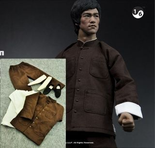 Bruce Lee 1/6 Enter the Dragon Brown Suit @@@ Head Kung Fu Costume