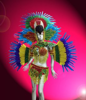 Samba Rio Carnival Parade Dancer Showgirl Drag Queen Parrot Costume