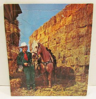 JOHNNY MACK BROWN VINTAGE COWBOY WESTERN FRAME TRAY PUZZLE BY