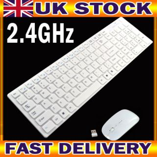 White Wireless Keyboard And Mouse Set for Apple Mac PC/Laptop Nano USB