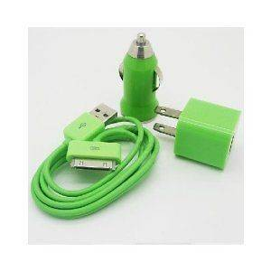 USB Car Charger + Travel Charger + Sync Cable Apple iPod Touch 4th Gen