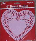 LIGHT PASTEL PINK 6 HEART DOILIES PAPER VALENTINES DAY DOILEY CARDS