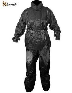 Xelement Ladies 2 Piece Black Motorcycle Rain Suit 2XL