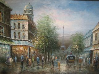 Original ~ Paris Parisian French Street Scene Painting on Canvas