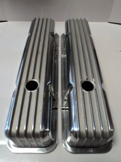 SBC FINNED POLISHED ALUMINUM VALVE COVERS TALL FITS SB CHEVY 283 327