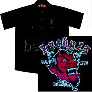 Red Devil Hot Rod Car Work Shirt, Black, Lucky 13