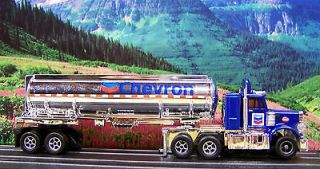 Chevron Peterbilt 359 Semi w Tanker Racing Rigs ho slot car Xtrac afx