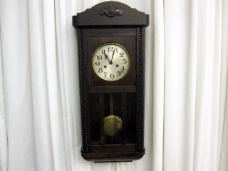 Antique German Wall Clock Dark Oak Case Art Deco Style Key & Pend