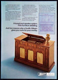 Vintage 1975 Zenith Allegro Stereo Console Magazine Ad