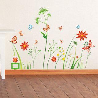 flower dandelion tree butterfly viny wall sticker decor removable