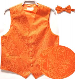 New mens tuxedo vest waistcoat & bow tie paisley wedding prom orange