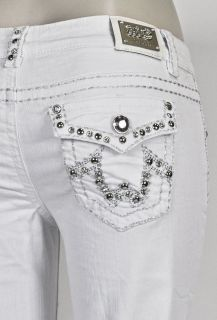 MISS CHIC BOOTCUT JEANS WHITE W STUDDED DESIGN SZ 1 15(1915C)