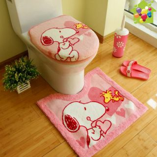 Lovely Snoopy Bath Mat Rug Acrylic U Bath Mat+ Toilet Seat Cover+