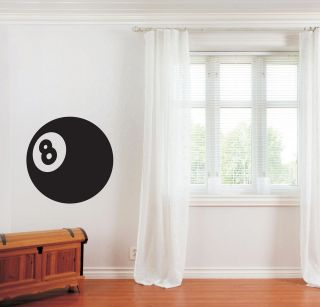 LUCKY NUMBER 8 POOL BALL GAME ROOM LARGE VINYL WALL ART STICKER DECALS