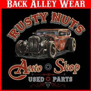 RUSTY NUTS AUTO SHOP HOT ROD T SHIRT CLASSIC CARS L 3XL