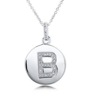micro pave cubic zirconia sterling silver initial letter b pendant