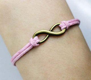 Karma antique karma bracelet, infinity wish wax cord pink bracelet