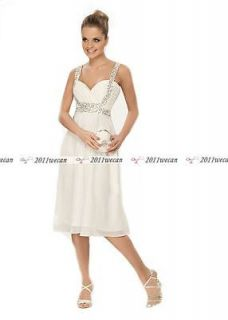 New Stock Knee Length Strap Short Casual Beach Wedding dresses US4.6.8