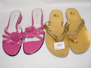 BAY CLUB PINK GOLD SANDALS FLIP FLOPS FLOWER GLITTER SZ 5 1/2 SZ 6