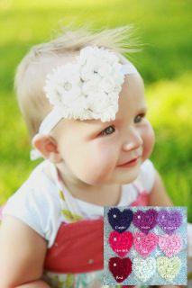 Rosette Flowers Rhinestone Headband Bow for Newborn, Baby or Girl