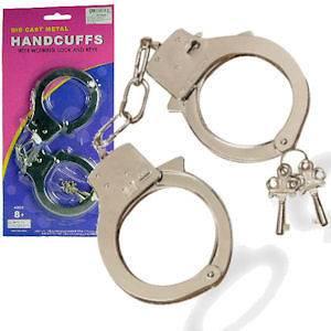 Medium Quality Handcuffs Hand Cuffs Metal Chain Toy Chrome Child NEW B