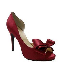 US7.5 open toe High Heels bridal formal dress Wedding Pump Shoes red