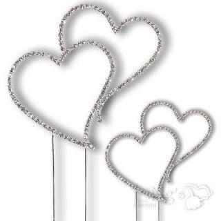 Monogram Silver Diamante Heart Wedding Cake Topper h03