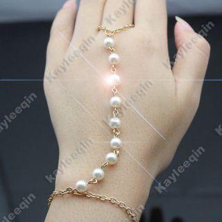 Fab Gold Multi Pearl Bridal Bracelet Bangle Slave Chain Hand Harness