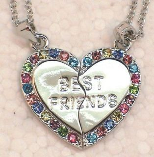 New Best Friends Silver Tone Multi Crystal Pendants & Necklaces