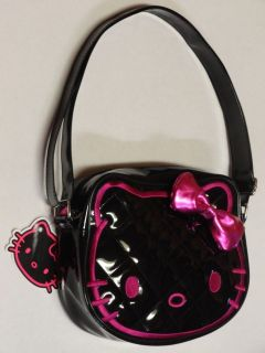 LOUNGEFLY~HELLO KITTY~HAND BAG~QUILTED~BLACK~PINK EMBROIDER~PURSE~NEW