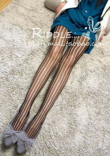 Lace Vertical Stripes Fishnet Tights Pantyhose y17 bla
