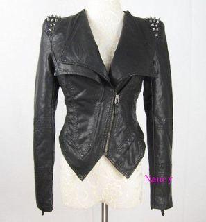 Punk Spike Studded Shoulder PU Leather Jacket Coat Motorcycle Jacket