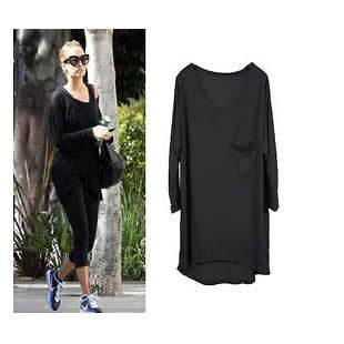Color Basic Crew Neck Long Sleeve Loose fit T shirt Tee Top w Pocket