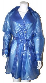 Raincoat Trench Coat Mac in Semi Trans PVC / Vinyl Size M Rainwear