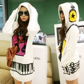 Korean Womens Cute Hoodie Pullover Sweatshirt Outerwear Long Tops S M