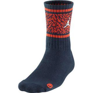 Nike Jordan Striped Elephant Crew Socks Obsidian/Orange 517374 451