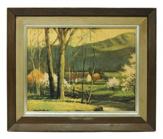 Framed PRINT Signed ROBERT WOOD 15x17 Country Farm HILLSIDE Landscape
