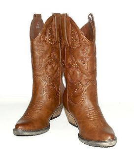 Very Volatile Womens Brittle Brown Fashion Western Boot w/Brass Bling