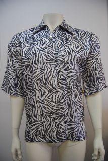CDS Men`s 100% Metallic Silk Print Short Sleeve Shirts Zebra 3961