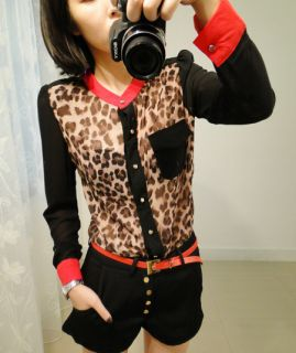 Womens Color Block Stand Up Collar Leopard Print Chiffon Long Sleeve