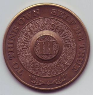 III 3 years   Alcoholics Anonymous AA medal token chip coin