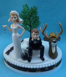 Wedding Cake Topper Deer Hunter Hunting Camo K Themed FREE Garter