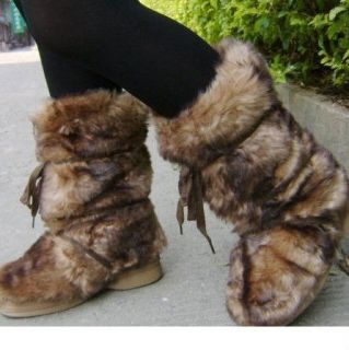 ESKIMO FAUX LONG FUR FURRY YETI BOOTS BROWN WHITE BLACK WINTER SNOW