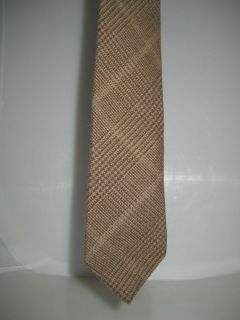 BRUNELLO CUCINELLI WOOL CASHMERE BROWN PLAID NECK TIE NEW