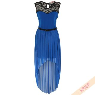 Womens Asymmetric Dip Hem Lace Dress Belted Chiffon Prom Party